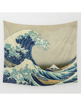 The Classic Japanese Great Wave Off Kanagawa Print By Hokusai Wall Tapestry by