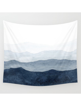 Indigo Abstract Watercolor Mountains Wall Tapestry by