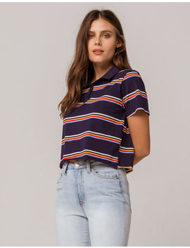 Full Tilt Stripe Navy Crop Polo Tee by Full Tilt