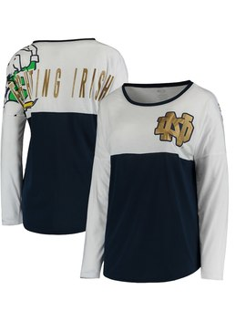 Notre Dame Fighting Irish Concepts Sport Women's Vortex Long Sleeve Cheer Top   White/Navy by Concepts Sport