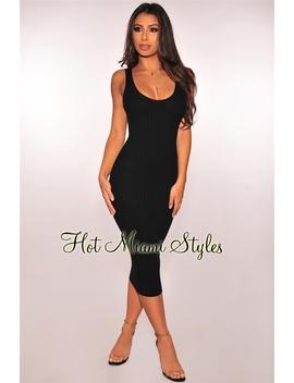 Black Ribbed Knit Sleeveless Dress by Hot Miami Style