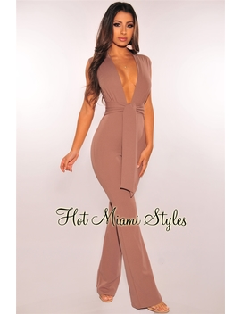 Toffee Plunge Belted Jumpsuit by Hot Miami Style