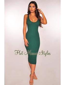 Emerald Ribbed Knit Sleeveless Dress by Hot Miami Style