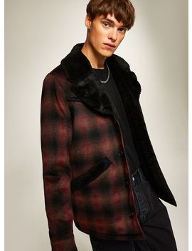 Red Check Faux Fur Lined Jacket by Topman
