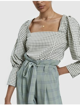 Dana Checked Square Neck Top by Stelen