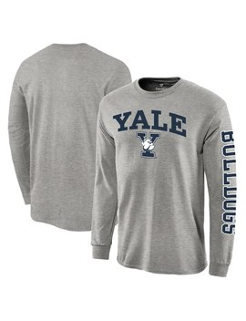 Yale Bulldogs Distressed Arch Over Logo Long Sleeve Hit T Shirt   Heathered Gray by Fanatics Branded
