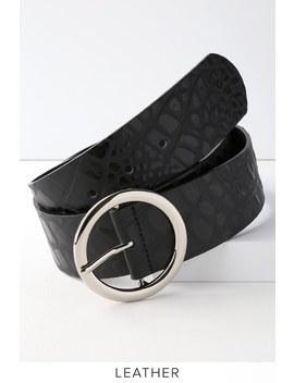 Elias Black Crocodile Embossed Leather Belt by Lulu's