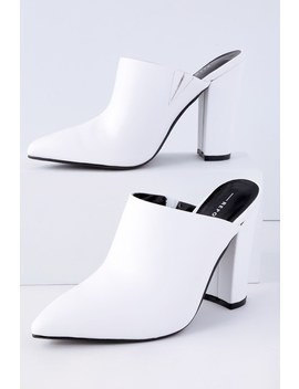 Finch White Pointed Toe Mules by Lulu's