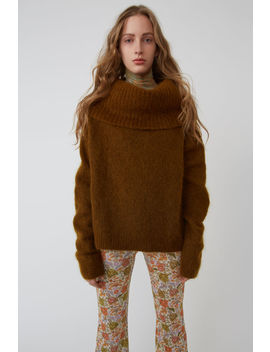 Cowl Neck Sweater Cognac Brown by Acne Studios