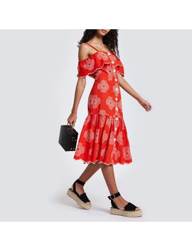 Red Embroidered Button Down Cami Dress by River Island