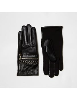 Black Zip Tassel Studded Leather Gloves by River Island