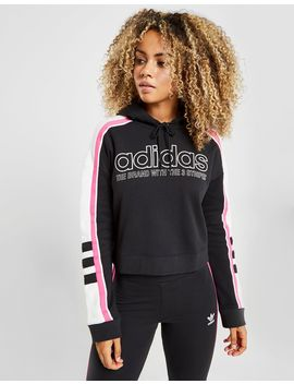 Adidas Originals Linear Crop Overhead Hoodie by Adidas Originals