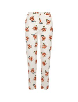 White Floral Print Cropped Cigarette Pants by River Island