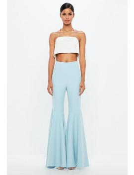 Peace + Love Blue Super Flare Trousers by Missguided