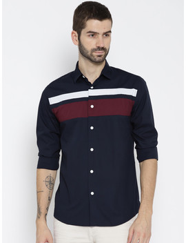 Jack & Jones Men Navy Blue Slim Fit Colourblocked Casual Shirt by Jack & Jones