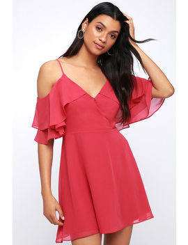 Sweet Memories Fuchsia Off The Shoulder Skater Dress by Lulu's