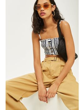 Petite Striped Horn Button Camisole Top by Topshop