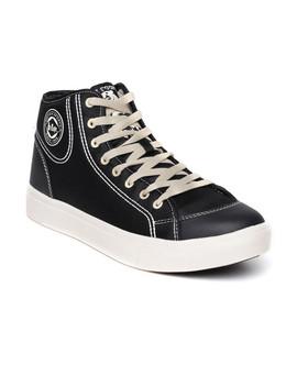 Lee Cooper Men Black Solid Mid Top Sneakers by Lee Cooper