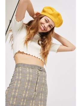Zip Popper Checked Mini Skirt by Topshop