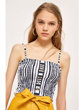 Tall Striped Horn Button Camisole Top by Topshop