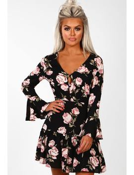 Pure Class Black Multi Floral Print Frill Detail Mini Dress by Pink Boutique