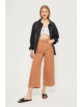 Moto Tobacco Cropped Wide Leg Jeans by Topshop