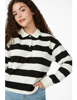 Striped Polo Shirt by Monki