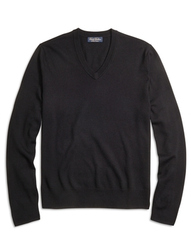 Saxxon™ Wool V Neck Sweater by Brooks Brothers