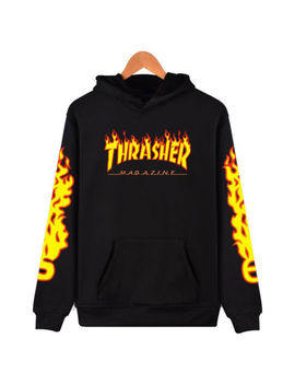 Allover Thrasher Skateboard Magazine Flame Logo Hoodie Hip Hop Sweatshirt Jacket by Ebay Seller