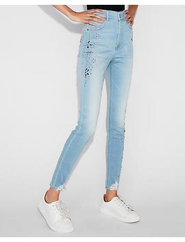 Extreme High Waisted Embellished Stretch Ankle Leggings by Express