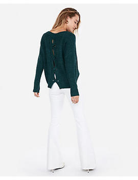 Cable Knit Split Back Pullover Sweater by Express