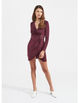 Burgundy Buckle Dress by Miss Selfridge