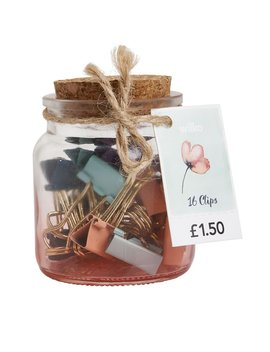 Wilko Expression Mini Binder Clip Jar 16pk by Wilko