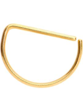 """20 Gauge 3/8"""" Yellow Anodized Titanium Annealed D Shaped Septum Ring by Body Candy"""