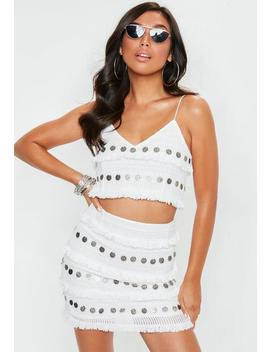 White Strappy Coin Bralet by Missguided