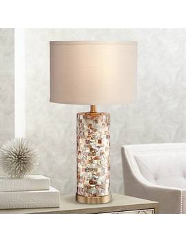 Margaret Mother Of Pearl Tile Cylinder Table Lamp by Lamps Plus
