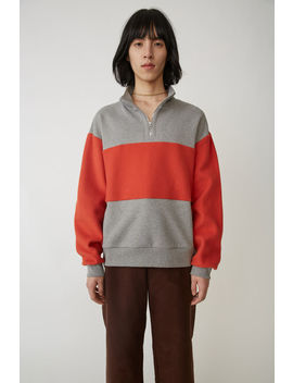 Zippered Sweatshirt Grey/Red by Acne Studios