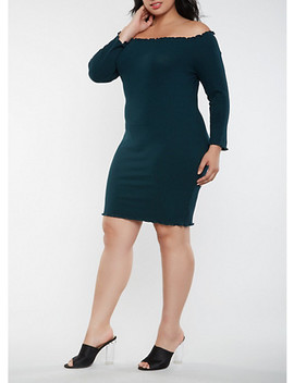 Plus Size Ribbed Knit Off The Shoulder Dress by Rainbow