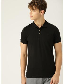 United Colors Of Benetton Men Black Self Design Polo Collar T Shirt by United Colors Of Benetton
