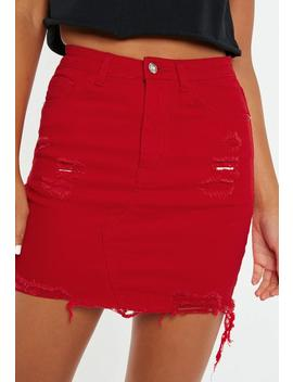 Red Distressed Denim Mini Skirt by Missguided