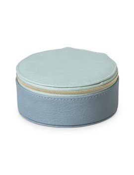 Nellie Blue Round Travel Jewellery Box Small by Olivar Bonas