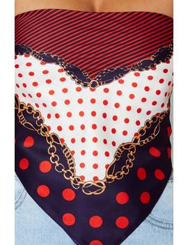 Half Hearted Scarf Navy/Red Print by White Fox