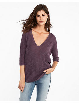 V Neck Slub London Tunic Sweater by Express