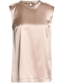 Bead Embellished Stretch Silk Satin Top by Brunello Cucinelli