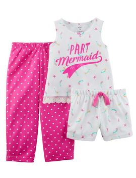 3 Piece Neon Mermaid Poly P Js by Carter's