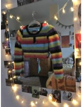 Unif Rainbow Acrylic Cropped Jumper, Size S, New With Tags by Ebay Seller