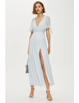 Metallic Striped Plunge Dress by Topshop