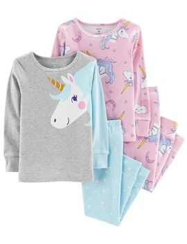 4 Piece Glitter Unicorn Snug Fit Cotton P Js by Carter's