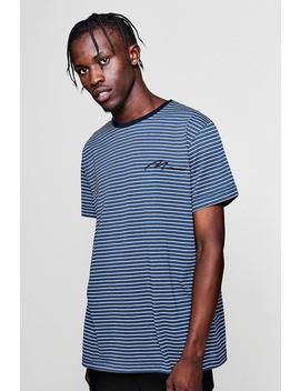 Man Signature Pique Jacquard Stripe T Shirt by Boohoo