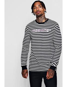 Long Sleeved Stripe Embroidered Slogan T Shirt by Boohoo